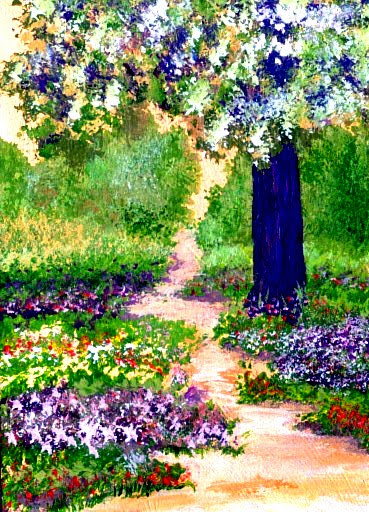 4-16-07 aceo - celebration gardens - cdcp07 - acrylic-mat - for Jean - pkg3r